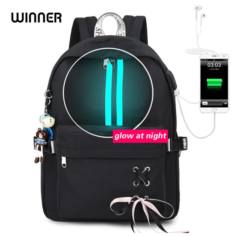 WINNER Fashion Waterproof Backpack Anti-theft USB Charging Women Luminous Strip School Bags for Teenage Girls Laptop Bagpack WINNER Fashion Waterproof Backpack Anti-theft USB Charging Women Luminous Strip School Bags for Teenage Girls Laptop Bagpack