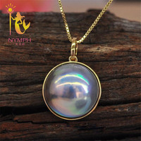 NYMPH 18K Yellow Gold Jewelry Fine Jewelry Natural Pearl Pendant Japan Mabey AU750 Natural Stone Pendant For Women 13 14mm PH004