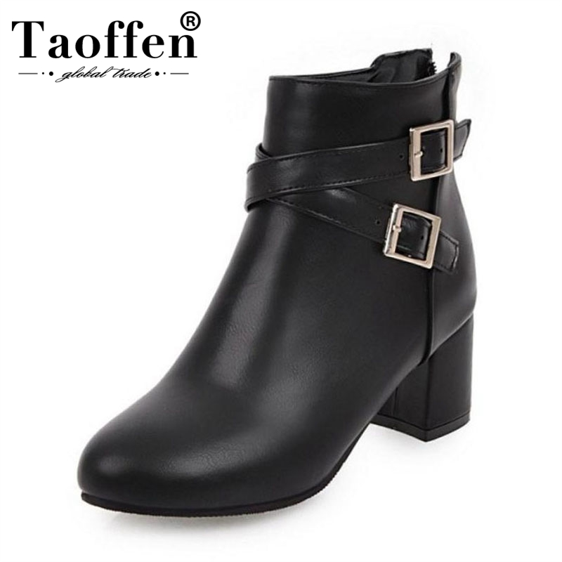 TAOFFEN Women Ankle Boots Dropship Winter Buckle Warm Shoes Woman Thick Heels Zipper High Heels Boots Party Footwear Size 31-45TAOFFEN Women Ankle Boots Dropship Winter Buckle Warm Shoes Woman Thick Heels Zipper High Heels Boots Party Footwear Size 31-45