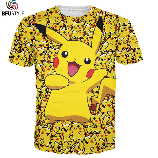 3D Pokemon Pikachu camiseta para hombres camisetas mujeres