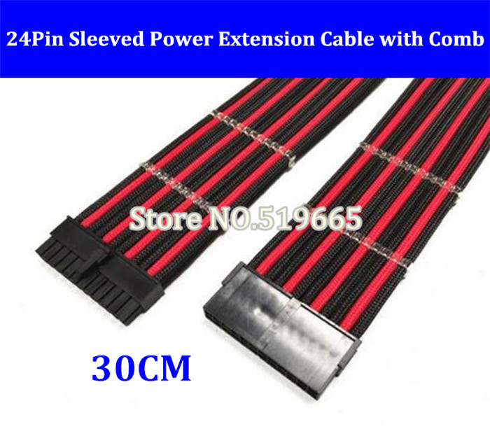 12 High quality 24Pin ATX EPS PSU Black & Red Single Sleeved Power Extension Cable + 2PCS Clear Cable Comb free dhl ems red sleeved 12 black & red single sleeved cpu 8 pin atx female to male power extension cable 30cm