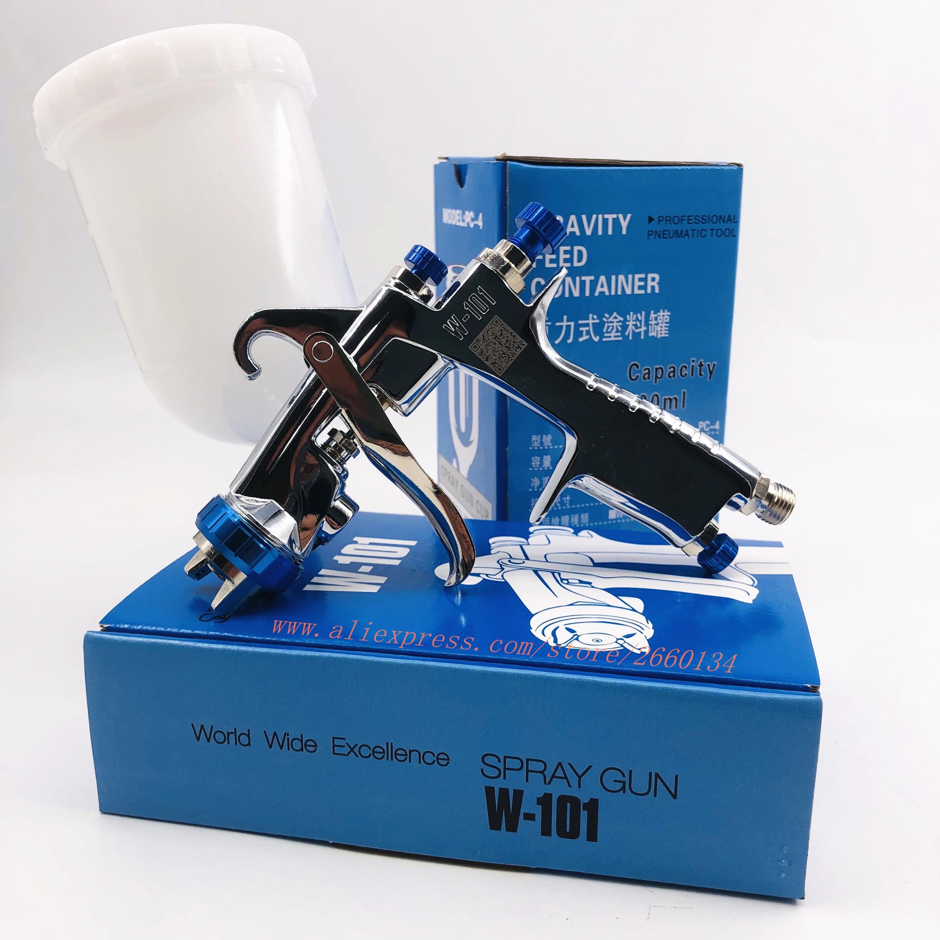paint gun W101 air spray gun hand manual spray gun,1.0/1.3/1.5/1.8mm Japan quality, W 101 paint Sprayer 400CC plastic tank-in Spray Guns from Tools on