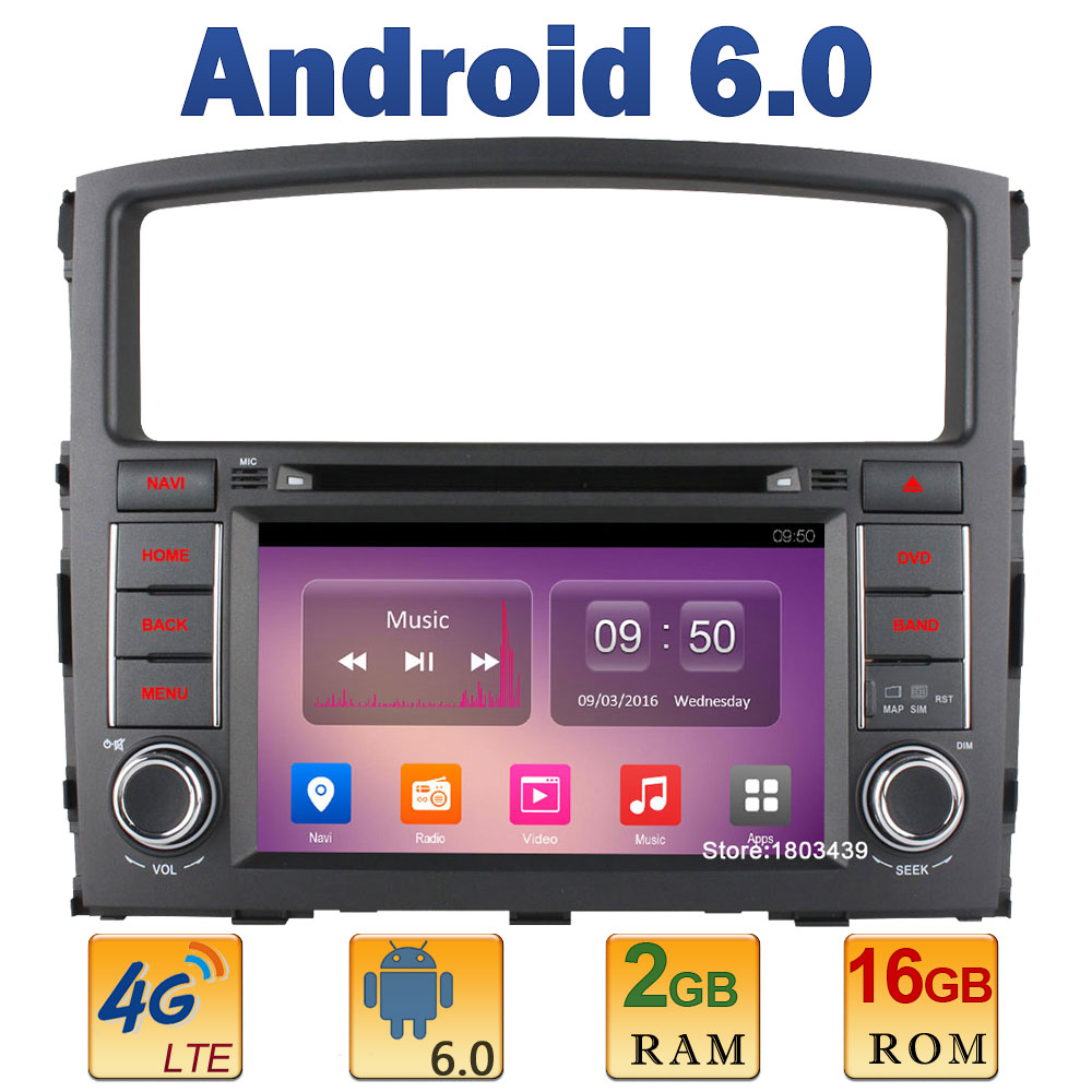 7″ Quad Core 2GB RAM 4G LTE SIM WIFI Android 6.0 Car DVD Multimedia Player Radio Stereo For Mitsubishi Pajero V97 V93 2006-2015