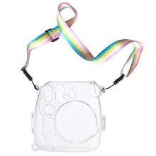 Powstro housses pour Fujifilm Instax Mini 9 étui de Protection de lappareil photo couvercle en plastique Transparent avec sangle pour Fuji Mini 8/8 sac
