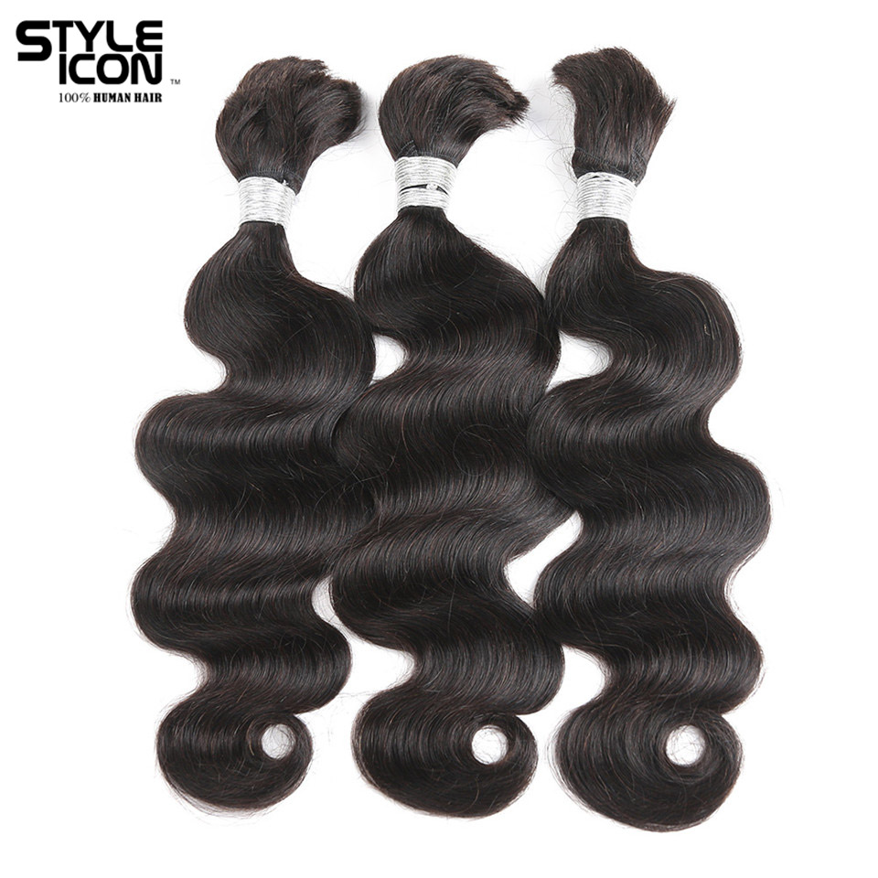 Styleicon 3 Bundles Human Braiding Hair Bulk Hair For Braiding Remy Brazilian Body Wave Bulk Hair Extensions Natural Color