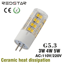 G5.3 led lamp t3 t4 jcd light bulb bi pin base 110V 220V 3W 4W 5W replace 25W 30W 35W halogen lamp crystal Light Cabinet Light