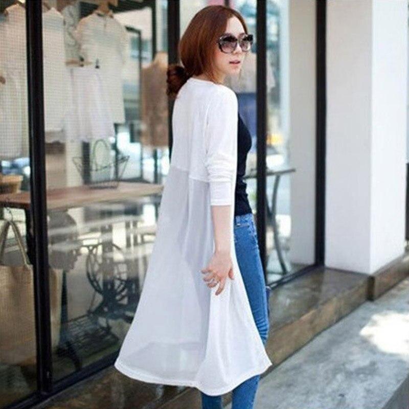 Women Kimono Solid Chiffon Cardigan Black Full Sleeve Blouse Coat ...