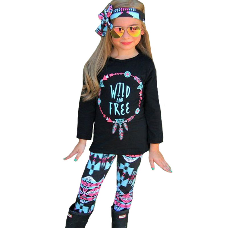 Boys Girls Clothing Sets 2017 Kids Clothes Letter Arrow Feather T Shirts+Geometry Pants+Headband Autumn 3pcs Baby Clothing Set off shoulder tops t shirts denim pants hole jeans 3pcs outfits set clothing fashion baby kids girls clothes sets