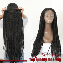 High quality fashion synthetic fiber black braid wig synthetic lace front box braid wig women's black brading wigs free shipping