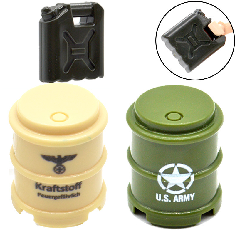 10pcs/lot MOC WW2 Military Oil Drums and Oil Pot Printed US Army Part Building Blocks Toys for Children 8 in 1 military ship building blocks toys for boys