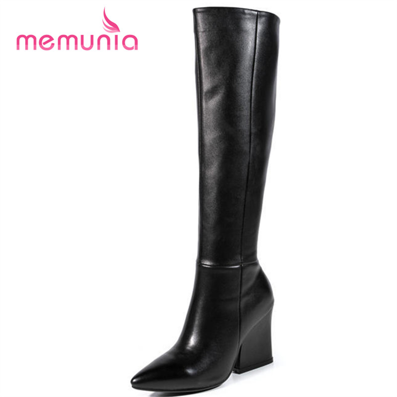 ФОТО high quality pointed toe winter snow boots for women fashion genuiner leather simple thick high heel knee high boots