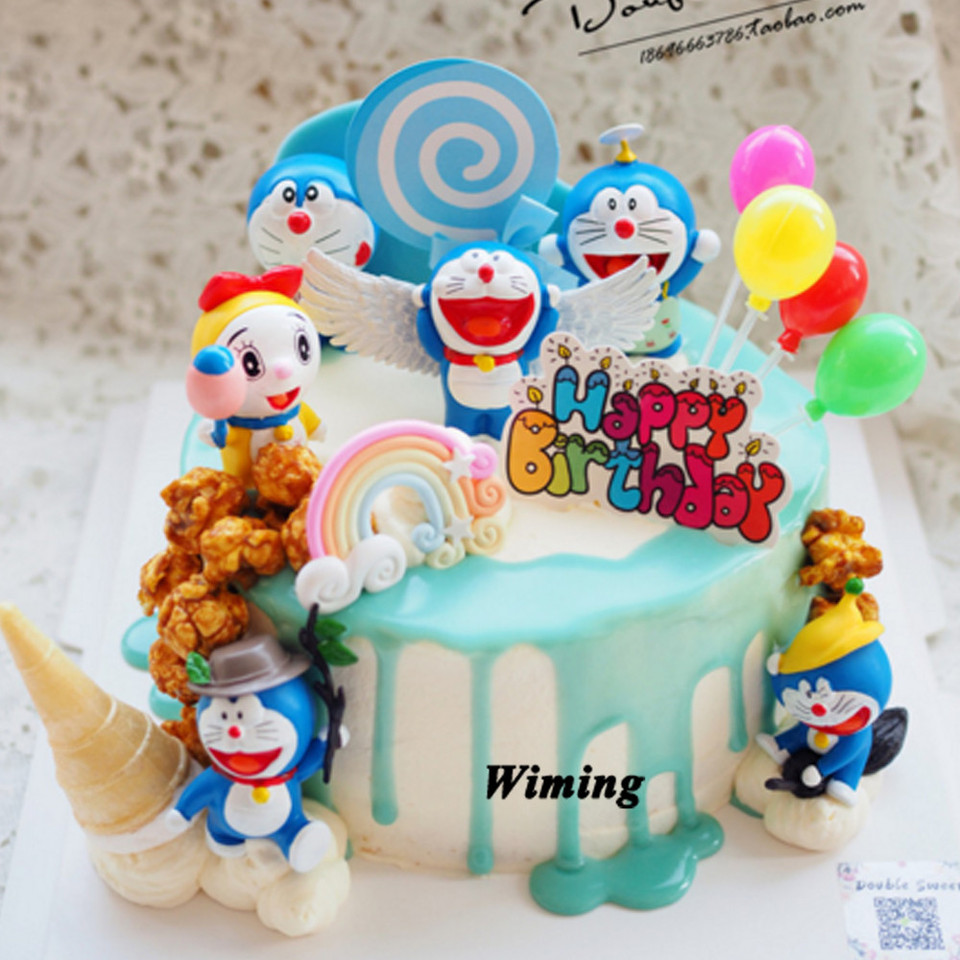 Doraemon Cat Cartoon Cake Topper Toys For Kids Baby Children Return Gifts Party Supplies 1st Birthday Decorations Cupcake Topper Cake Decorating Supplies Aliexpress