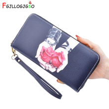 FGJLLOGJGSO fashion Print wallet female long zipper clutch purse students standard wallets women leather High quality carteira