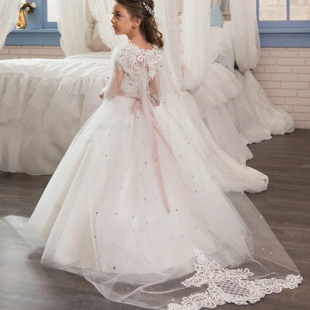 Elegant Flower Girl Dresses For Weddings 2019 Vestidos Daminha Girl Pink Gowns Arabic In Dubai First Communion Dresses For Girls