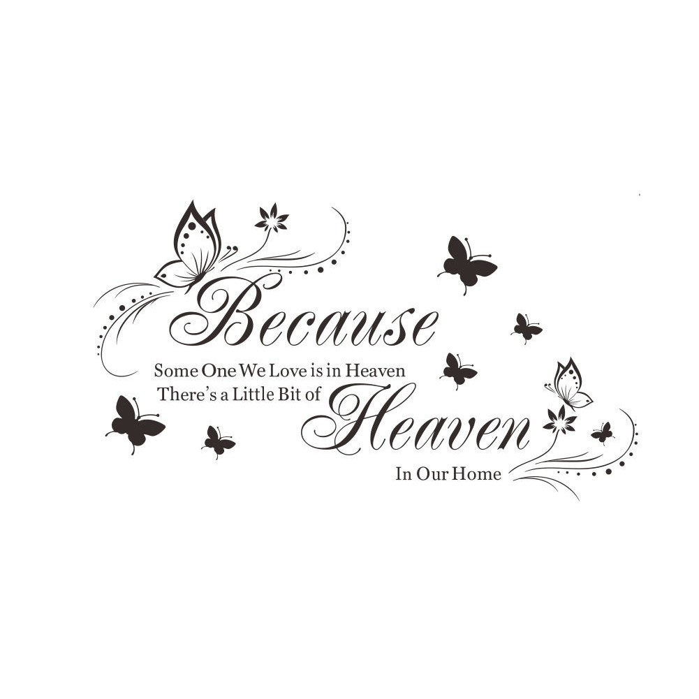 Because Heaven DIY Wall Quote Words Decals PVC Art Room Decor Removable