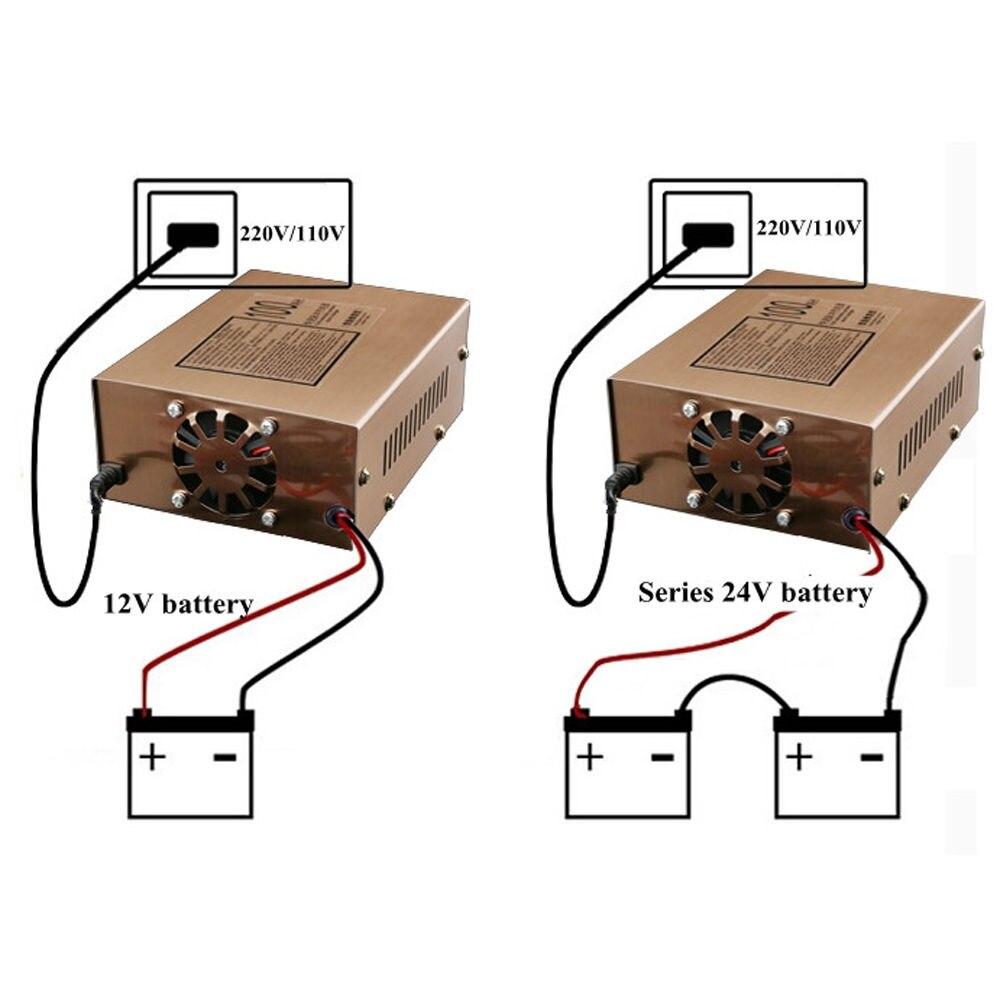 Зарядное устройство для автомобилей, автоматическое интеллектуальное импульсное зарядное устройство на 12/24 В, ремонтное, 100 А·ч, для мотоци...
