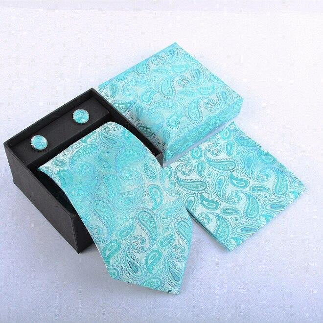 Набор галстуков галстуки Запонки Галстуки для мужчин квадранные Карманные Платки свадебный подарок - Цвет: 27