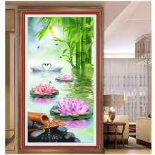 Water Lily & lover swan & bamboos 5D summer scenery picture DIY diamond painting cross stitch diamond embroidery mosaic pattern