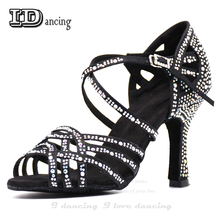 Women Salsa Dance Shoes Square Dance Shoes For Women Ballroom Latin Dancing Shoes Jazz Waltz Party Shoes Black Heel JuseDanc blue shining elisha latin dance shoes for woman ballroom shoes square and thin high heel available xc 6332