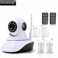 Free Shipping WAN Wifi Camera IP Camera With 433MHz Alarm You Can Add Door Detector Movement