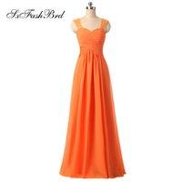 Праздничное платье Милая Кепки рукава линия Длинные оранжевые Свадебная вечеринка Подружкам невесты платья Платья для выпускного для Обув