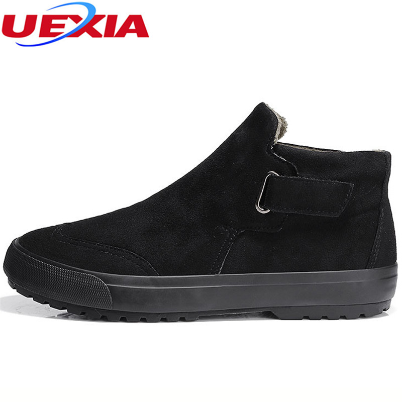 UEXIA Men Boots Fashion Shoes Retro Design Tooling Snow Boots Casual Warm Winter Chelsea Work Anti-collision toes Botas Hombre zosuo men boots buckle desert british male boots leather martin boots tide retro tooling men s shoes zs337