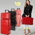 Ruedas universales del bolso del recorrido de la vendimia carro de equipaje de la vendimia hembra de cuero rojo caja de la boda caja de caja de foto, retro equipaje conjunto
