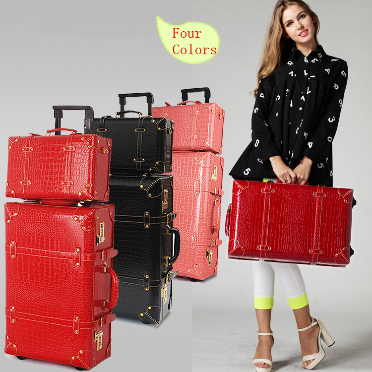 Popular Red Leather Suitcase-Buy Cheap Red Leather Suitcase lots ...