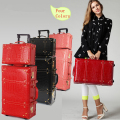 Vintage travel bag universal wheel trolley luggage vintage female red leather case the wedding box picture box,retro luggage set