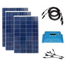 цены Solar Module 100w 12v 3 Pcs Solar Panels 300w Solar Battery Charger Phone Solar Charge Controller 12v/24v 10A Lamp Laptop Led