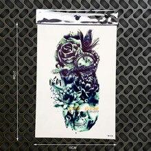 3D Fashion Design Anchor Tattoo Compass Colck Design Waterproof Temporary Tattoo Henna Rose Wall Sticker 21x15CM Women Men Tatoo
