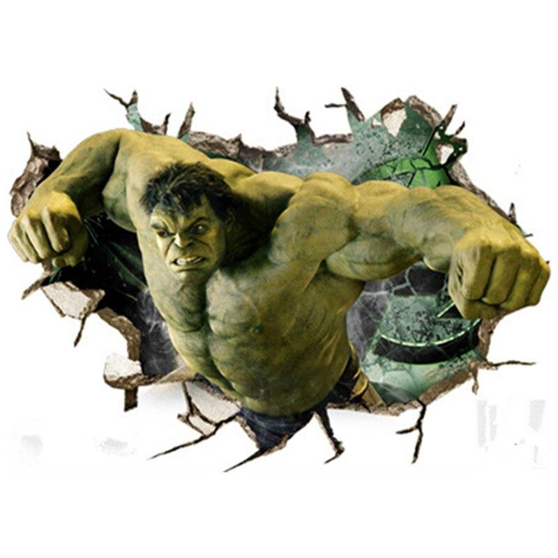 Hulk 3d broken wall vinyl stickers the Avengers super heroes anime poster for kids rooms decorations marvel wallpaper 70*50cm