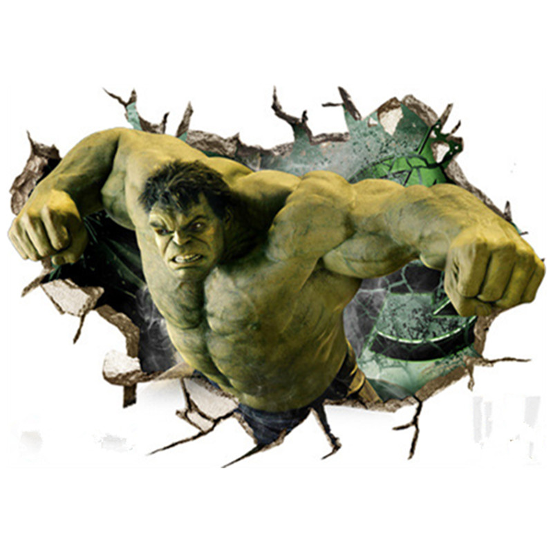Hulk 3d Broken Wall Vinyl Stickers The Avengers Super