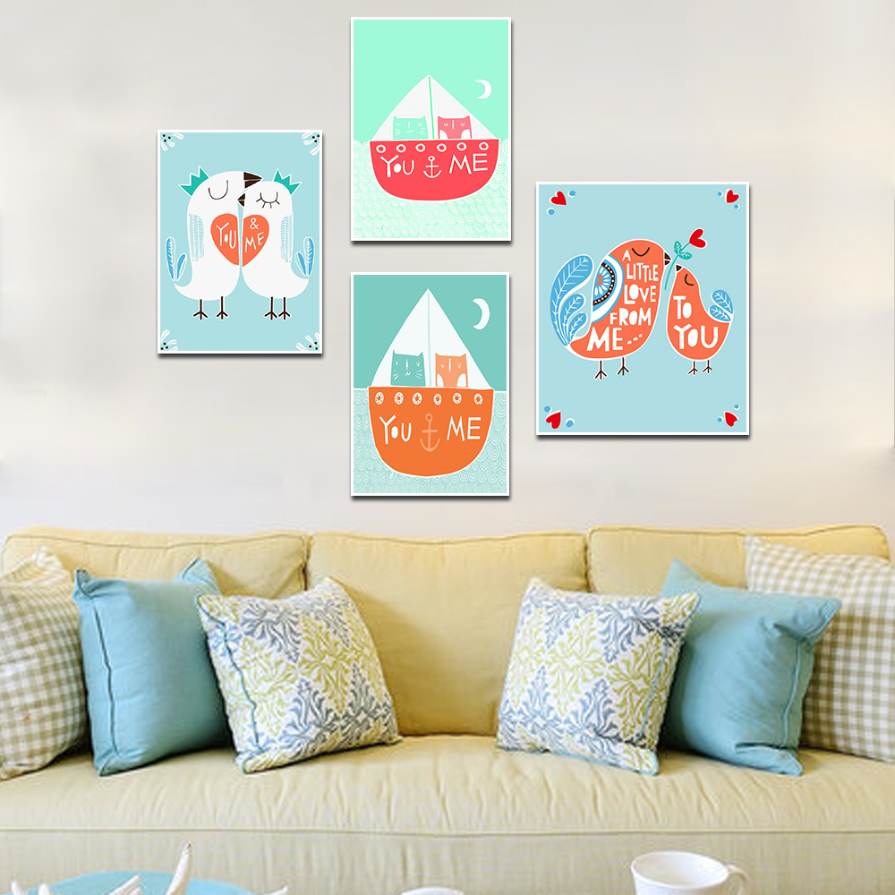 Nursery Kids Posters And Prints Two Birds Warm Living Room Mural Cartoon Canvas Kids Room Decoration Picture in Painting Calligraphy from Home Garden