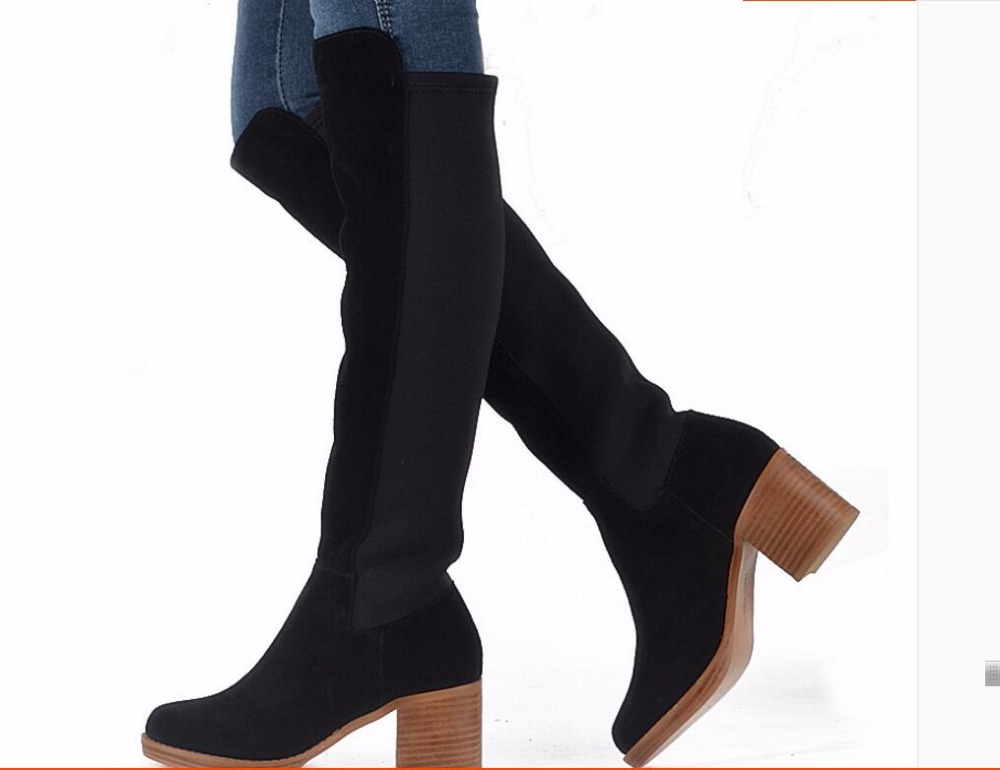 Kaeve Black Nubuck Leather Knee High Boots Retro Round Toe Womens Boots Chunk Heels  Kight Boots Big Size Free ShippingKaeve Black Nubuck Leather Knee High Boots Retro Round Toe Womens Boots Chunk Heels  Kight Boots Big Size Free Shipping