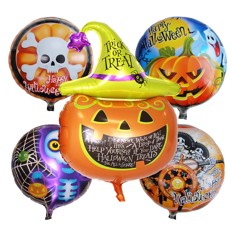 5pcs helloween foil balloons halloween party decorations air balls inflatable helium balloon birthday balloons party supplies - Halloween Party Supplies