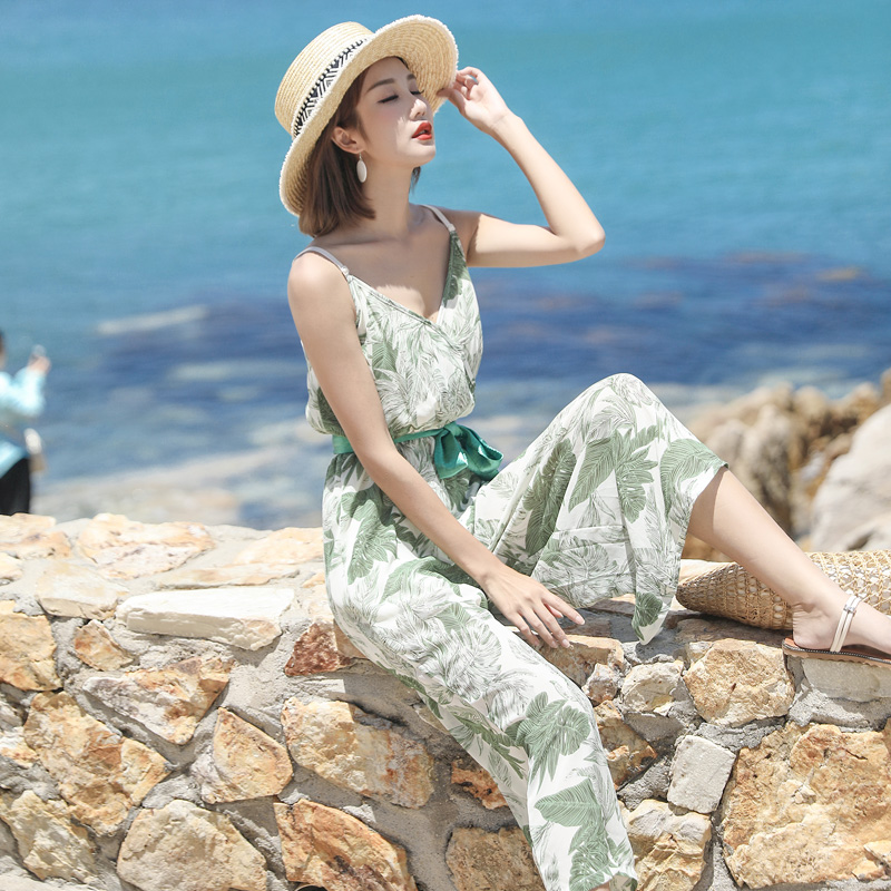 Printed Holiday Beach Jumpsuit with wide leg pants New Suspended Belt Waist V-neck Jumpsuits with Calf-Length Pants Summer Price $23.88