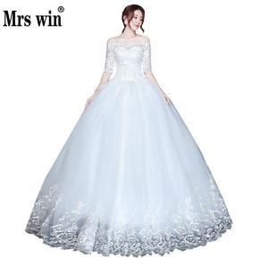 Image 1 - 2020 ใหม่ขายส่งครึ่งแขนปิดไหล่ชุดแต่งงานราคาถูก Ball ชุดเจ้าสาวชุดจีน Vestido De noiva
