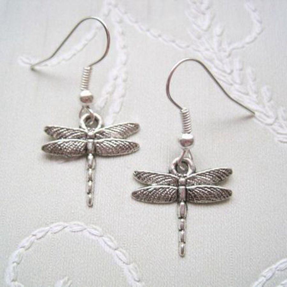 30pair *SMALL ART DECO DRAGONFLY* Tibetan Silver Earrings SP XMAS GIFT Bag Dragonflies 32MM LK669