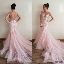 Sexy V-neck Tulle Mermaid Prom Dresses lace Appliques Court Train Pink long Evening party Gowns Vestidos de Festa Speci