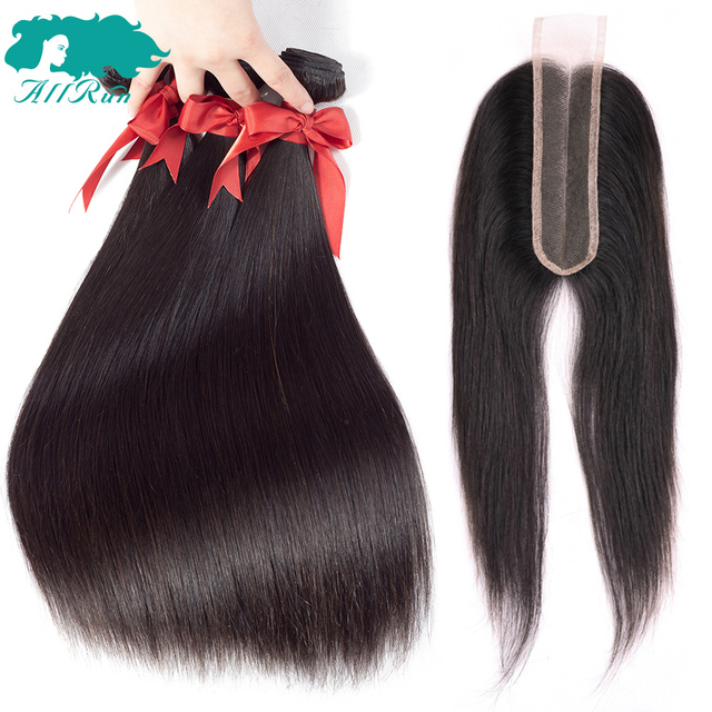 Allrun Brazilian Straight Hair Weave Bundles With Closure 2*6 Middle Part 4 Pieces Human Hair Bundles With Closure Non Remy Hair
