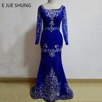 E JUE SHUNG Königsblau Dubai Kaftan Stickerei Long Sleeves Crystals Meerjungfrau Lange Abendkleider Dubai Arabische Abendkleider