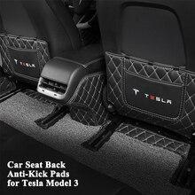 3pcs/set Styling Car Seat Back Anti-Kick Cushion Pad Rear Passenger Logo Anti-Dirty Kick Accessories for Tesla Model 3