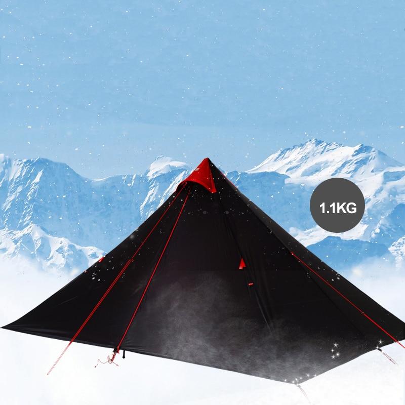 FLAME'S CREED 15D revêtement en Silicone sans fil Double couche pyramide tente unique 1.5 personne imperméable ultra léger Camping 3 saison - 3