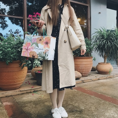 Spring And Autumn Women Fashion Brand Korea Style Waist Belt Loose Khaki Color Trench Female Casual Elegant Soft Long Coat Cloth 23