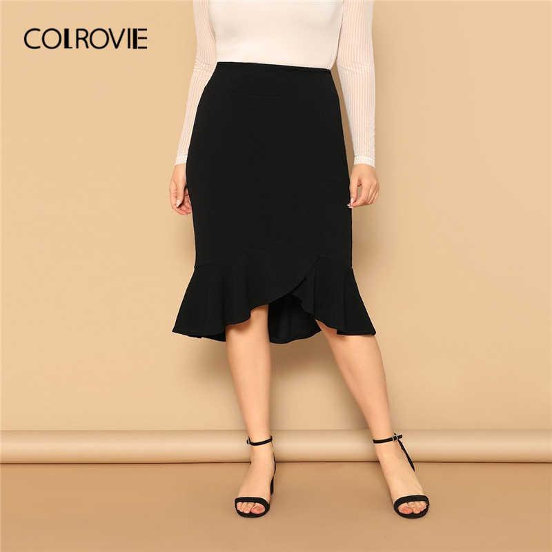 Colrovie Falda Elegante Con Volantes Asimetricos Negros De Talla Grande Para Mujer Moda Primavera 2019 Faldas De Trabajo Falda Midi Sexy Para Mujer Faldas Aliexpress