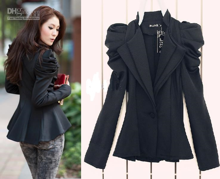 2013 New Women Ladies Black Suit Blazer One Button Shrug Shoulder Jacket Coat Double Collars-in ...