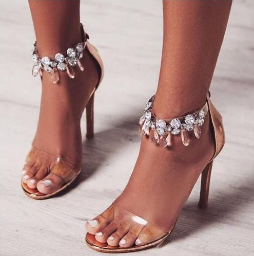Luxury Rhinestone Woman Sandals PVC Transparent Ankle Strap High Heel Sandals Cut-out Crystal Embellished Female Dress Shoes