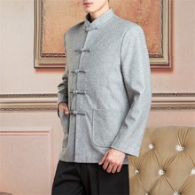 2017 New Arrival Chinese Traditional Men's Mandarin Collar Wool Long Sleeve Kung-Fu Jacket Coat Free Shipping S M L XL XXL XXXL
