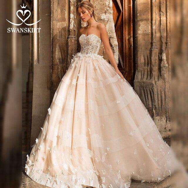 Romantik 3D kelebek düğün elbisesi 2020 Swanskirt aplikler A Line prenses dantel Up gelin kıyafeti vestido de noiva N101